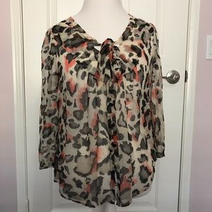 Anthropologie Maeve Leopard Animal Print Blouse